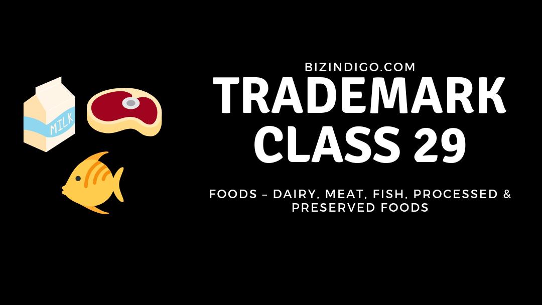 trademark class 29