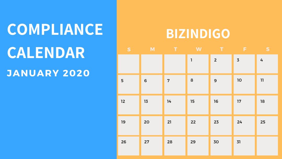 Compliance Calendar January 2020